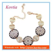 Design de moda pulseiras redondas chocolate link em ouro turco 18k