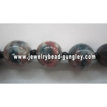 Blue black red and white color mix ball shape ceramic beads