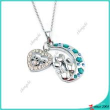 Moda lua e pingente de coração charme colar de moda (pn)