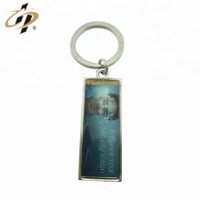 Promotional customize zinc alloy silver epoxy metal print logo keychain