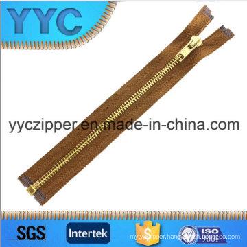 # 5 Open End Gold Brass Zippers for Handbags