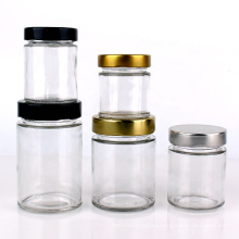 Custom straight side clear food container glass jar with metal lid