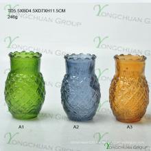 Jarrón hecho a máquina de la piña del vidrio coloreado para la pieza central