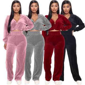 C7228 Latest Fashion Pullover Hoodie Wide Leg Pants Long Sleeve Outfits Women 2 Piece Flare Pants Velvet Winter Sweatsuit Set