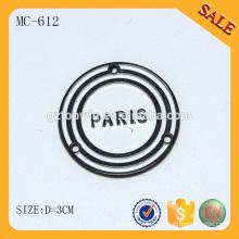MC612 2014 runde Handtasche logo benutzerdefinierte Metall Etikett