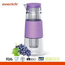 Jarra de agua de vidrio de 1000 ml con infusor de plástico