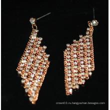 Мода Горячие продажи Очаровательная Длинные подвесной Rhinestone Стад Серьги