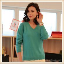 Custom Latest Designs Winter Plain 100% Cashmere Mujeres Recortadas Pullover Sweater