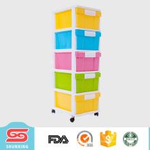 Mobília plástica do armário do divisor da gaveta do armazenamento de 5 camadas para venda