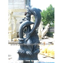 Carving Stone Marble Dolphin Sculpture Animal for Garden Statue (SY-B147)