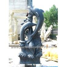 Резьба камень мрамор Дельфин скульптура животных для сада статуя (SY-B147)
