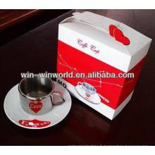 Tasse de café en céramique d'acier inoxydable de conception de coeur de double paroi
