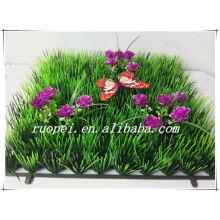 Nouvelle conception UV 25 * 25 gazon artificiel d'herbe avec des fleurs et papillon