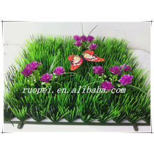 New design UV proof 25*25 artificial grass turf with flowers and butterfly