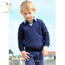 Красивый Мальчик Базовый Трикотажный Пуловер Кашемир V Шеи Джемпер
