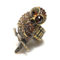 New arrival! vintage quality alloy gold owl shape finger ring,zinc alloy stretch ring,crystal ring