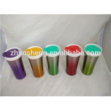 mejor venta artículo recipientes de café de cerámica de doble pared de acero inoxidable taza con asa