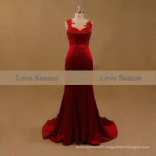 LSM001 Red O-neck sleeveless natural waist evening porn with appliques lace train mermaid real evening dress