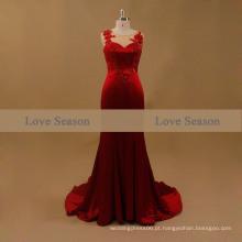 LSM001 Red O-pescoço sem manga cintura natural porno de noite com appliques vestido de noiva com sereia trem de renda vestido de noite real