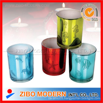 Silver Plating Valentine′s Day Glass Candle Holder