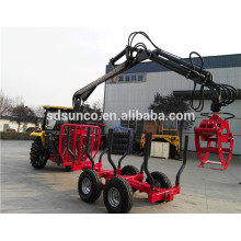 Professional ATV timber trailer, log trailer with crane, wood trailer factory