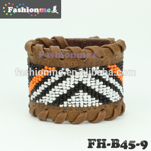 Outono de 2014 novo trançado borda com pulseiras de couro de grânulos de vidro
