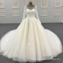 100% real photos custom made see through back lace beaded crystals ball gown long sleeve muslim wedding dresses DY042