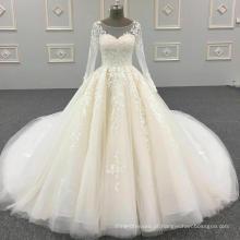 100% fotos reais custom made ver através de volta rendas frisado cristais vestido de baile manga comprida vestidos de casamento muçulmano DY042