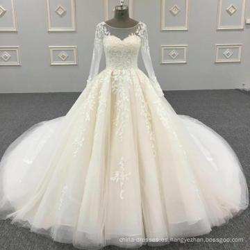100% fotos reales hechos a medida ver a través de cristales de cuentas de encaje vestido de bola de manga larga vestidos de novia musulmanes DY042
