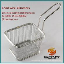 China Hersteller robuste Chips Skimmer einfache Reinigung sortierte Größe Essen Skimmer Küche Handwerk Edelstahl Draht Skimmer
