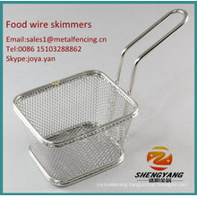 China manufacturer sturdy chips skimmers easy cleaning assorted size food skimmers kitchen craft stainless steel wire skimmers