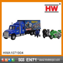 38cm container truck toy with motorcycles