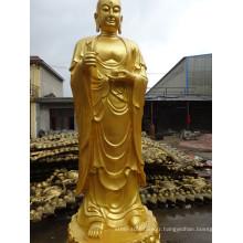 haute qualité tibétain antique debout statue de Bouddha bronze
