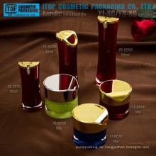 Qualitativ hochwertige innovative Nobel attraktive heiß-Verkauf Runde Taille Lotion Flasche und Creme Glas Acryl Verpackung