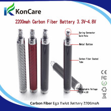 2014 Latest Carbon Fiber Tube Variable Voltage EGO 2200mAh Carbon Fiber EGO Twist Battery
