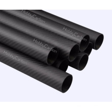 Haute qualité OEM en fibre de carbone ronde tube / tuyaux 25X23X450mm 3k sergé mat véritable fibre de carbone enveloppé tube fabrication