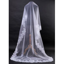 1T White Ivory Elegante Lace Edge Vestido de casamento nupcial Wedding Veil Cathedral