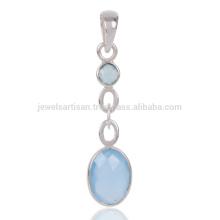 Blauer Onyx Edelstein 925 Sterling Silber Damen Anhänger
