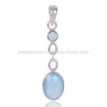 Blue Onyx Gemstone 925 Sterling Silver Women's Pendant