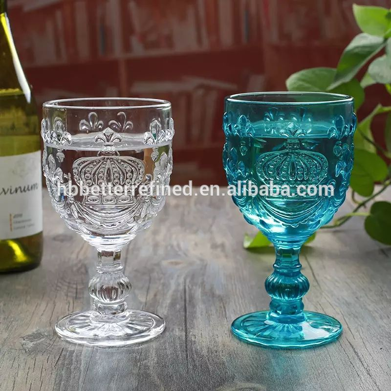 Crown Embossed Handmade Wine Glass Goblet0
