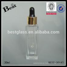 Botellas de cristal claras rectangulares 30ml con el tapón, botellas de empaquetado cosméticas, proveedor cosmético cuadrado de la botella del cuidado de la piel 1oz