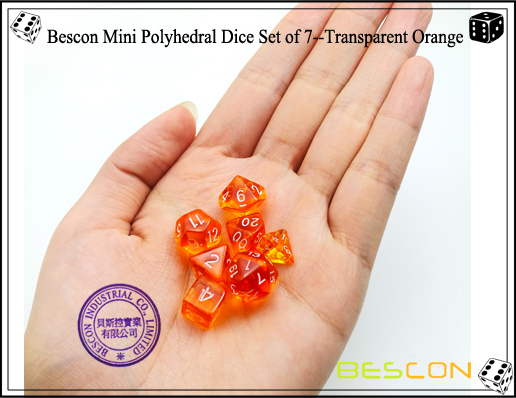 Bescon Mini Polyhedral Dice Set of 7--Transparent Orange-5