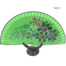 quadro de ventilador de mão dobrável, ventilador de mão de bambu, ventilador de manivela