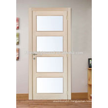 Interior Swinging oak wood door with frosted glass