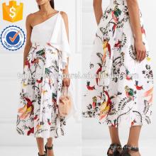Plissée imprimée coton-popeline jupe mi-longue de fabrication en gros de mode femmes vêtements (TA3030S)