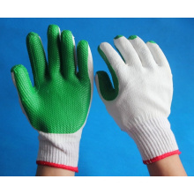 factory supply bleached white cotton gloves coated with rubber on palm