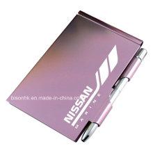 Titular de la almohadilla de nota del metal de la alta calidad con la pluma