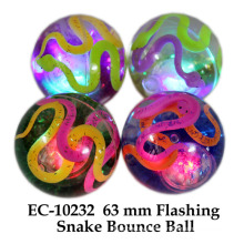 Funny 65mm Flashing serpiente agua Boucing balón de juguete