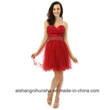 A linha de Sweetheart Mini apliques frisada Organza Cocktail Prom Dress
