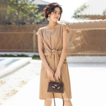 2020 Spring And Summer New Women's Waist Dress French Elegant Temperament Long Skirt Solid Color Simple Loose Ladies' Skirt